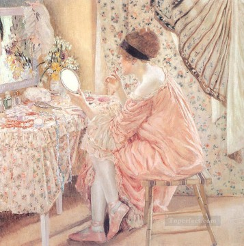 oil Works - Before Her Appearance La Toilette Impressionist women Frederick Carl Frieseke